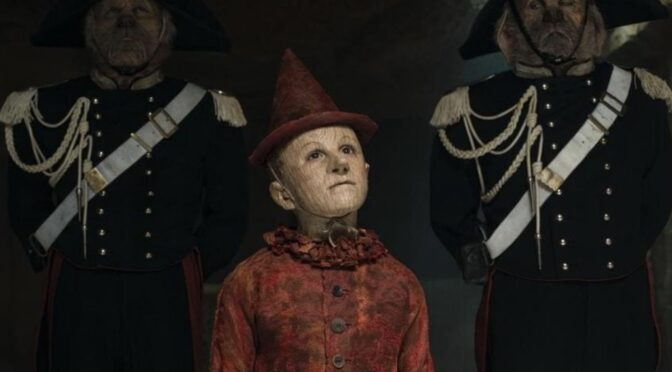 Pinocchio, a puppet boy made of wood, looks up at a judge after being taken into custody. He is flanked on either side by anthropomorphic dogs in ornate and official uniforms.